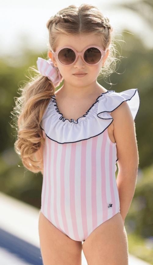 Bañador niña Miranda en tejido a rayas blancas y rosas