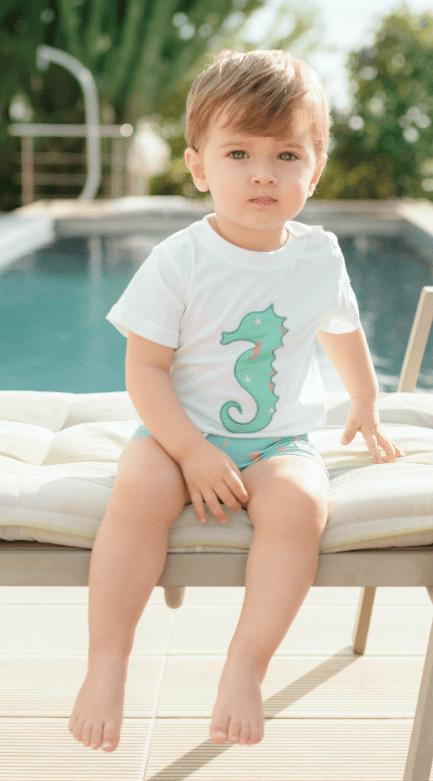 Conjunto baño bebé niño Camiseta y Bóxer