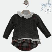 Conjunto bebé niña Yuedu con estampado escocés